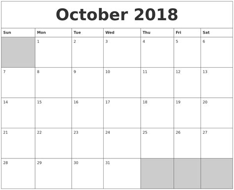 printable calendar october 2018 march 2019 monthly calendar printable