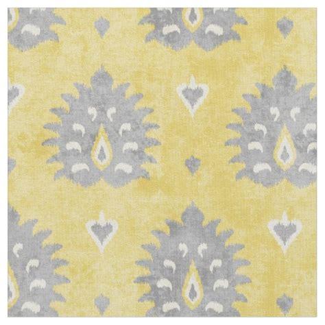 Yellow Ikat Pattern | chic yellow and grey damask ikat tribal pattern fabric