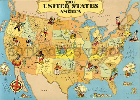 united states picture map united states map original 9 x 13 vintage 1930s picture map