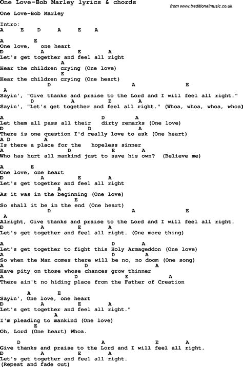 Bob Marley Songs And Chords Bob Lyrics