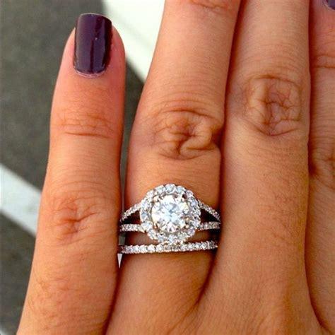 halo ring split shank halo ring with wedding band