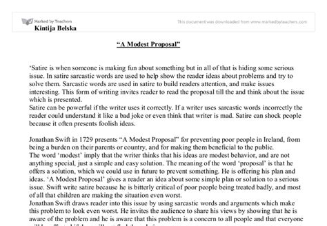 A Modest Essay Topics by Quot A Modest Quot Gcse Marked By Teachers