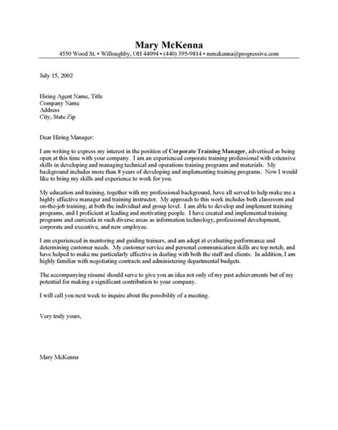 Course Cover Letter Corporate Trainer Cover Letter Sle Resume Cover Letter