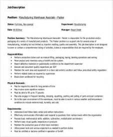sle warehouse worker description 9 exles in word pdf
