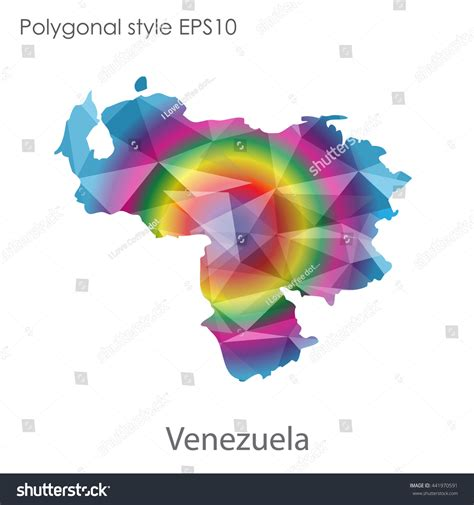 venezuelan id template map geometric polygonal styleabstract gems stock