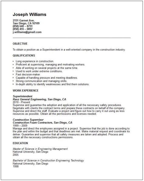 16199 construction superintendent resume exles and sles