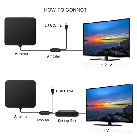 tv antenna digital hd 80 range lifier with iec converter sales black tomtop
