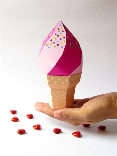 Cone Paper Craft - diy icecream favor box strawberry icecream soft serve