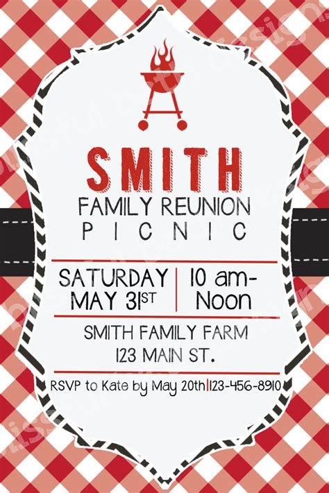 example reunion invitation card with white background