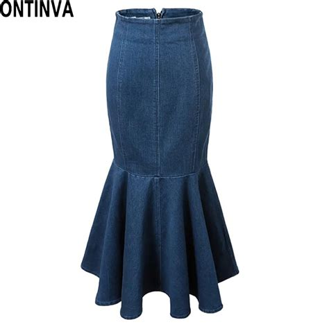 mermaid denim skirt blue jean high waisted