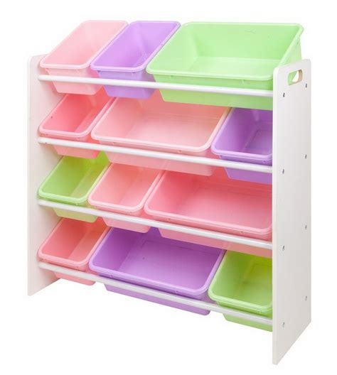 Plastic Shelf Organizer by Bin Storage Rack Pink Pastel