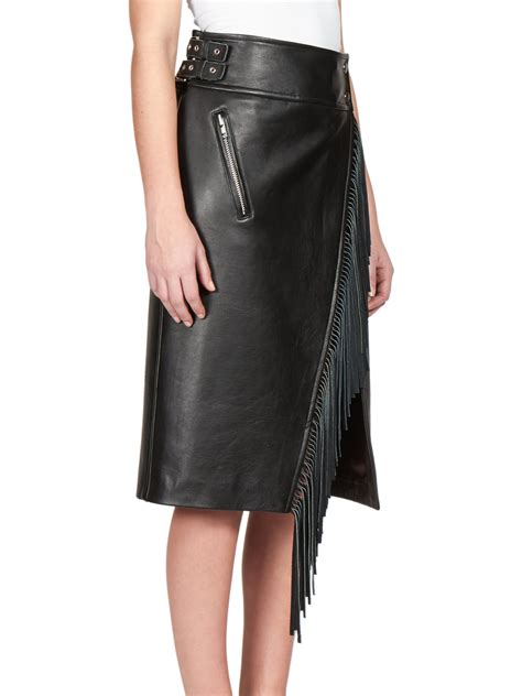 sacai luck fringed leather moto skirt in black lyst