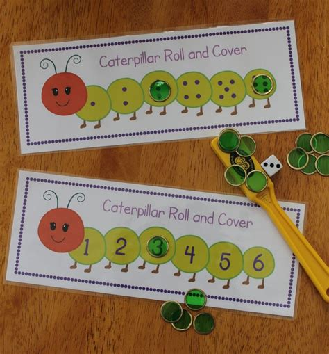 printable dice games for preschoolers caterpillar roll and cover differentiated math activity