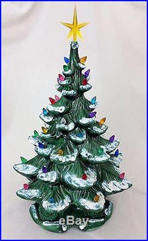 21 atantic mold flocked ceramic christmas tree vtg 1974 atlantic mold ceramic 16 flocked tree with base bulbs