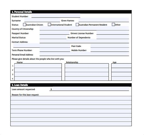 application template for students sle students loan application form 7 free