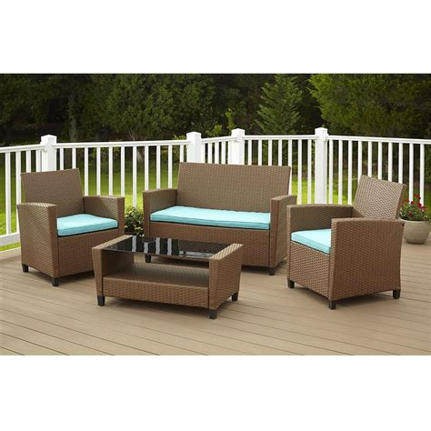 4 Piece Outdoor Patio Furniture Set In Brown Wicker Resin Teal Outdoor Furniture