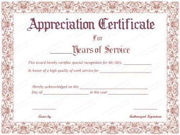 appreciation letter completion 5 years service formal certificate templates