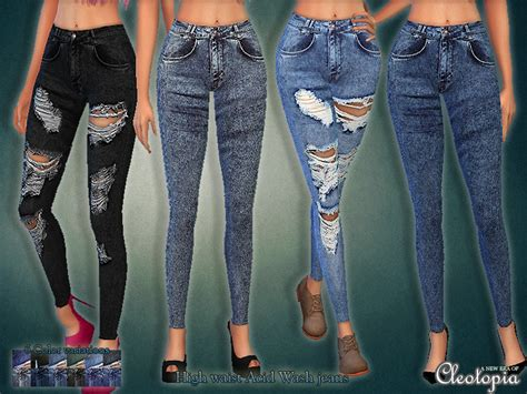 sims 4 high waisted jeans cleotopia s set30 high waist acid wash jeans set