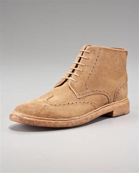 florsheim by duckie brown suede broken in brogue boot in