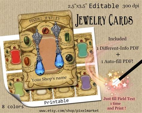 Editable Template For Jewellery Card by Printable Editable Jewelry Cards 25x35 Earring Display