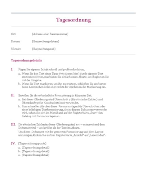 Vorlage Word Tagesordnung Klassische Tagesordnung Office Templates