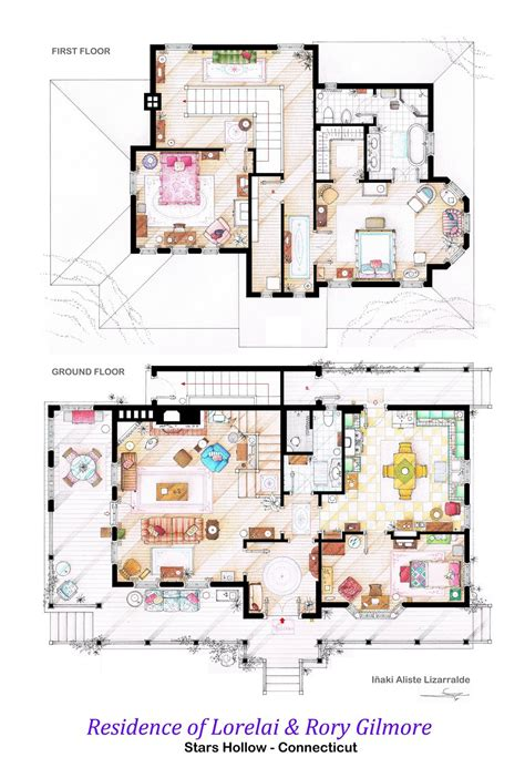 floor plan of the house house of lorelai and rory gilmore floorplans by nikneuk