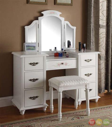 torian white vanity w tri fold mirror stool 3 set