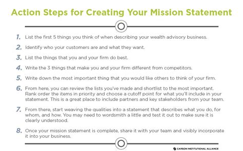 how to start a personal mission statement advisor mission statement carson alliance