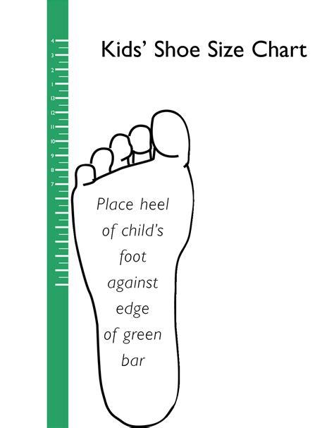 printable kids shoe size chart scope  work template