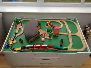 thomas train wooden brio bridge wood swing spinning bridge clickety clack the trains are on the track and heading