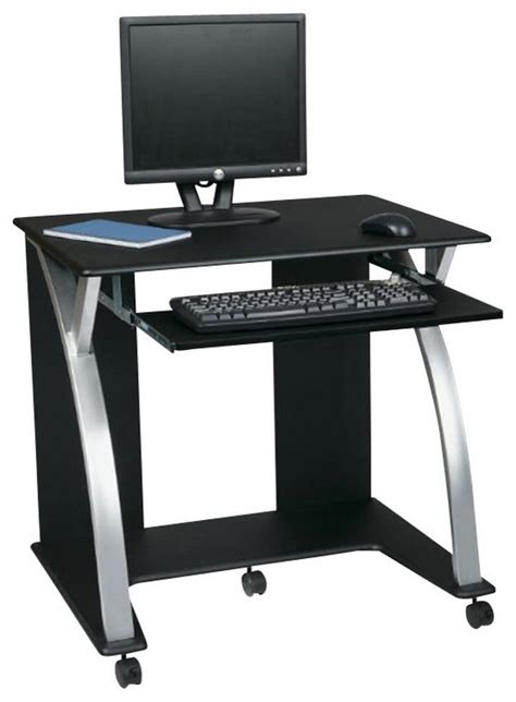Narrow Computer Desks Narrow Computer Desk For Limited Space Black Pvc Veneer In Black With Silver Minimalist Desk