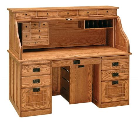 Amish Handcrafted Furniture - amish handcrafted mission roll top computer desk office