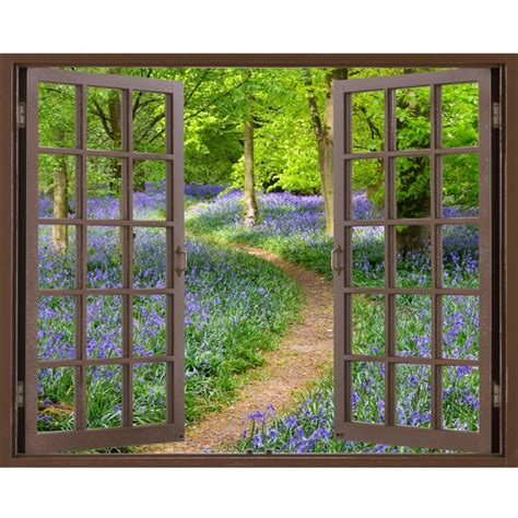 stick on wall murals window frame mural bluebell wood size peel and stick fabric illusion 3d wall decal