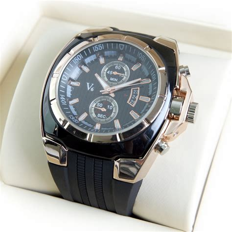 luxury mens silicone black gold w0003