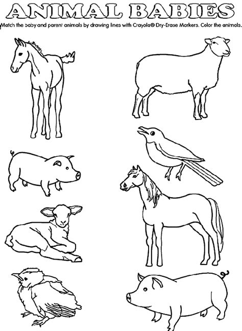 free coloring pages of animals and their babies baby animal match coloring page crayola com