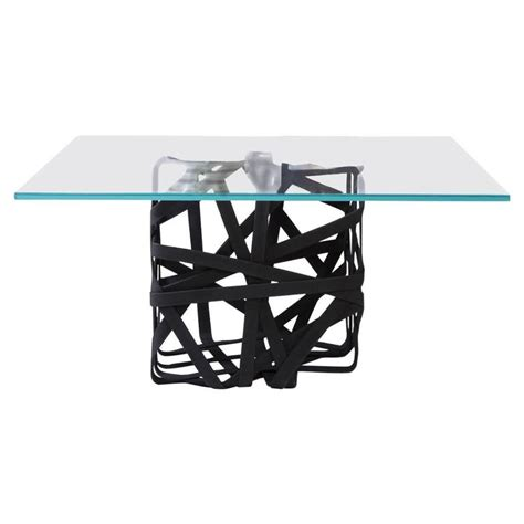 Glass Cube Coffee Table Quot Woven Quot Cube Coffee Table With Glass Surface For Sale At 1stdibs