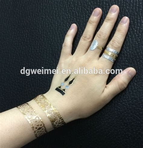 finger tattoo gold custom finger ring gold and silver metallic tattoo buy