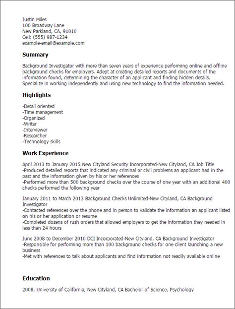 Investigator Cover Letter Professional Background Investigator Templates To Showcase Your Talent Myperfectresume