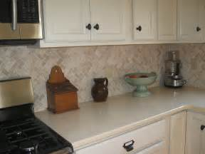How To Tile Backsplash Kitchen by Cream Herringbone Stone Mosaic Kitchen Backsplash