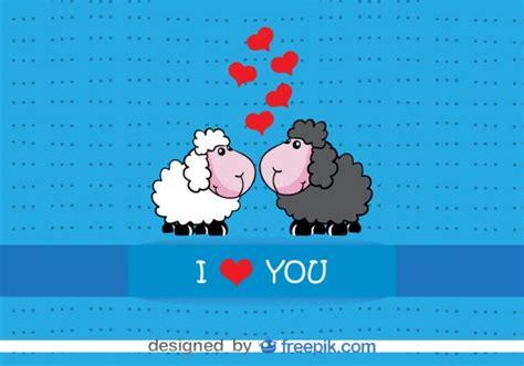 cartoon sheep kissing valentine s card design vector
