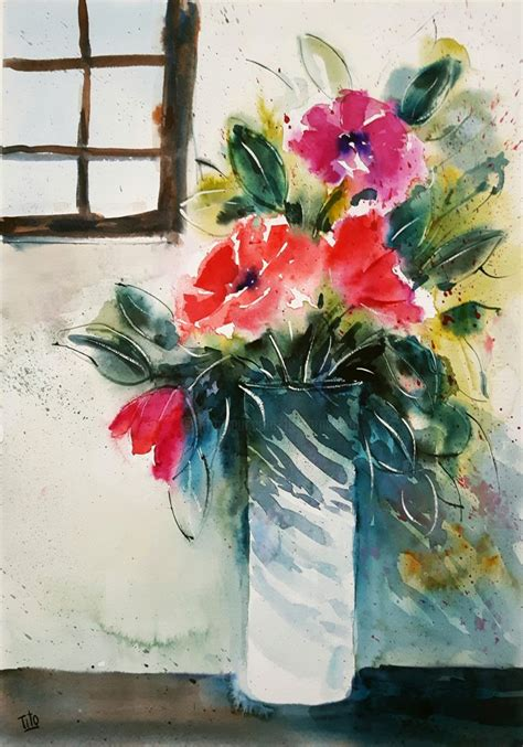 vasi di fiori dipinti vaso di fiori con finestra fiori flowers