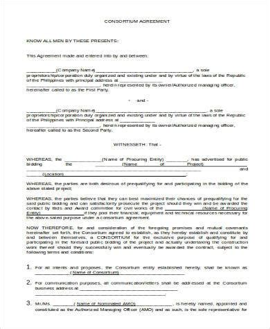 consortium agreement template basic agreement form sles 27 free documents in word pdf