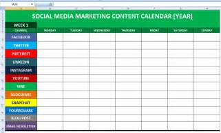 Social Media Planner by Social Media Calender Template Excel 2014 Editorial