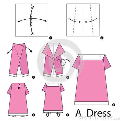 How To Make A Paper Dress - step by step how to make origami a dress