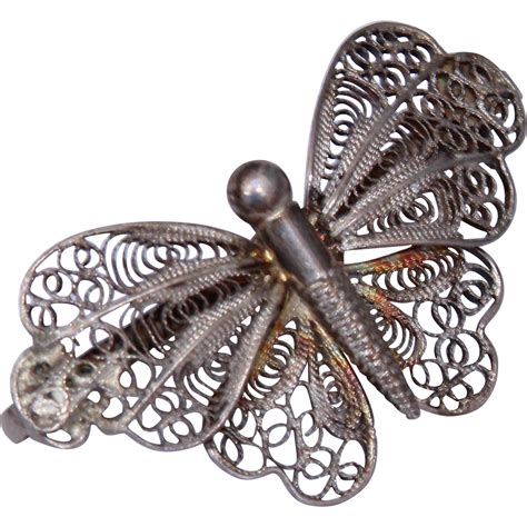 Handmade Silver Brooches - handmade vintage butterfly brooch 835 silver filigree from