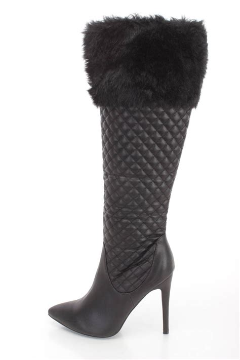 black faux fur cuffed single sole high heel boots faux leather