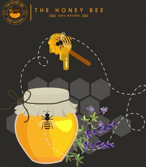 Madu Stick Bee honey advertisement jar bee stick comb icons decor free vector in adobe illustrator ai ai
