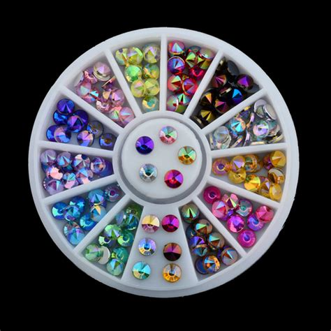 Crystal Decoration Pieces by Free Shipping 96 Pcs 12 Color 3d Nail Art Tips Gems