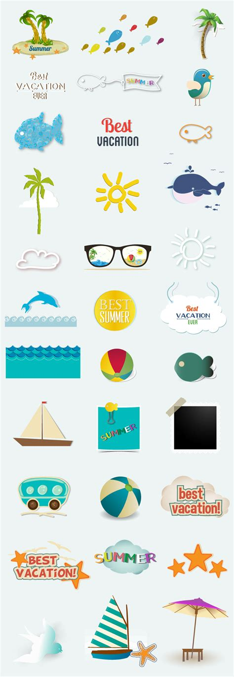 Elements Of My Vacation by Summer Vacation Elements Vector Free Vector Graphic