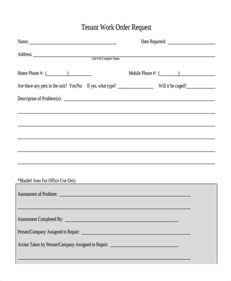 Work Order Forms Tenant Maintenance Request Form Template